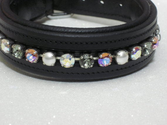 Свадьба - Crystal & Pearl Swarovski Crystal Chain Leather Dog Collar -Fancy Wedding Party Formal Casual - Crystal Dog Chain Puppy - Custom Made Medium