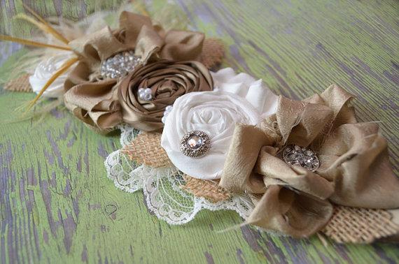 Mariage - Burlap wedding decor/ wedding dress sash / custom bridal sash / burlap wedding / outdoor wedding / wedding sash belt