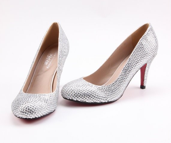 Свадьба - Rhinestone Clear silver crystal bling wedding shoes , party shoes bridal bridalmaids shoes , prom pumps bling shoes