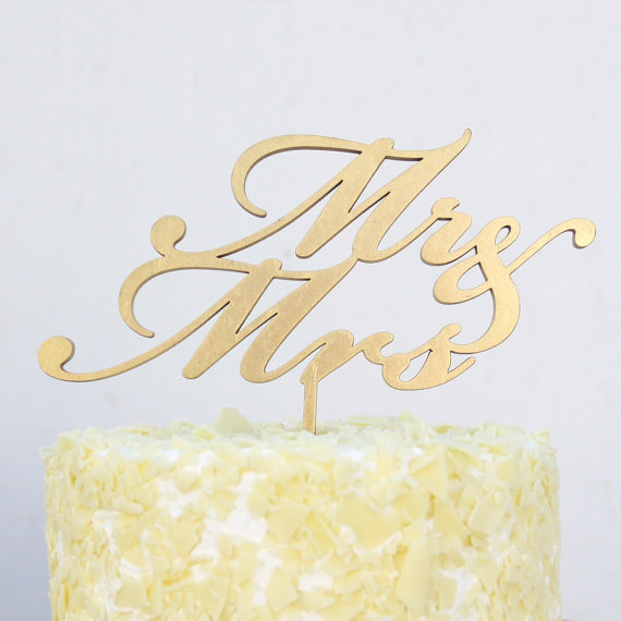 Mr And Mrs Wedding Cake Topper In White, Gold, Black And Maple ...