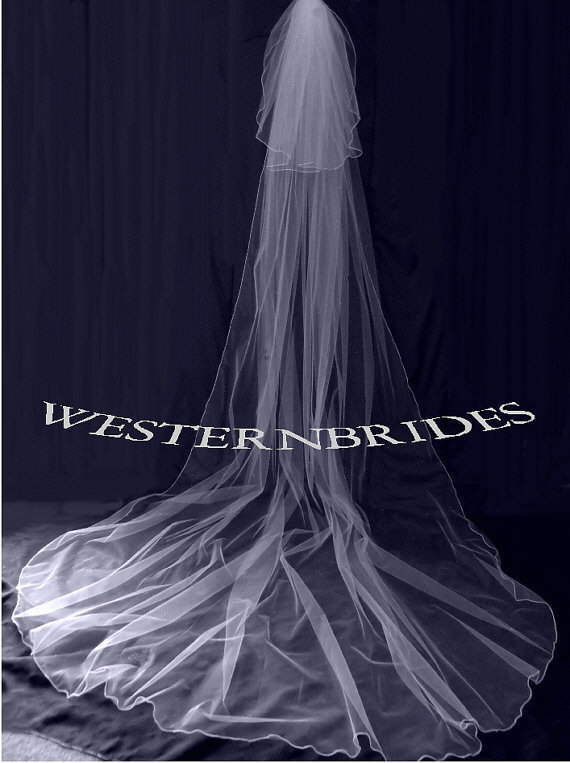 Mariage - Wedding 2 TIER CATHEDRAL Veil with blusher veil. White, ivory, Diamond white. Ready to wear on silver comb