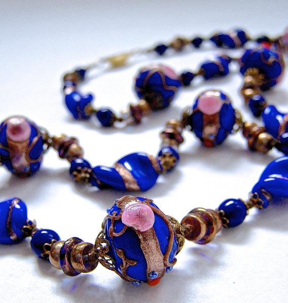 Venetian Wedding Cake Vintage Necklace 1970s Cobalt Blue Beaded Jewelry Italian Lampwork