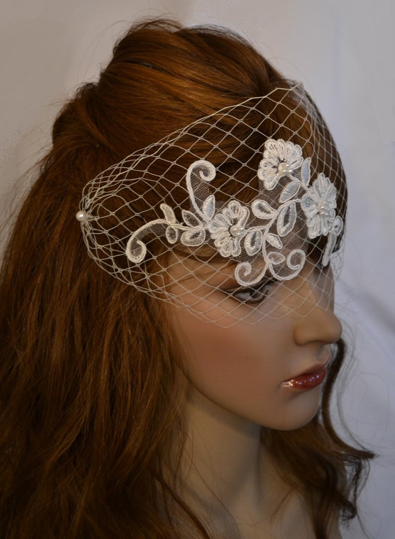 Mariage - Birdcage Lace Bridal Veil, Ivory Bird Cage Blusher Veil With Lace Applique & Pearls, Russian Netting Face Veil