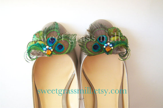 Wedding - Peacock Feather Shoe Clips - MAJESTE Shoe Clips - Crystals & Gems