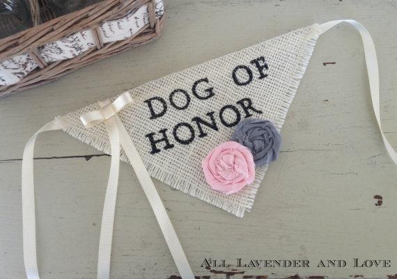 Свадьба - Ivory Ring Bearer Dog Of Honor Girl Collar with Flowers Bandana Rustic Burlap Wedding Photo Prop