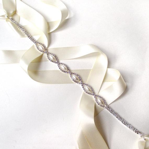 Marquise Pearl Bridal Belt Sash Or Headband White Ivory