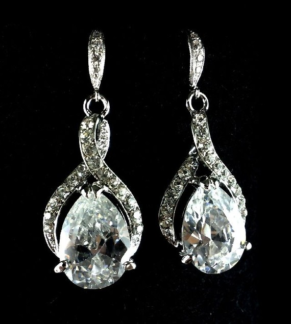 Mariage - Infinity Bridal Earrings, Crystal Dangle Earrings, Cubic Zirconia Teardrop Wedding Jewelry, Swarovski Earrings, TWIRL