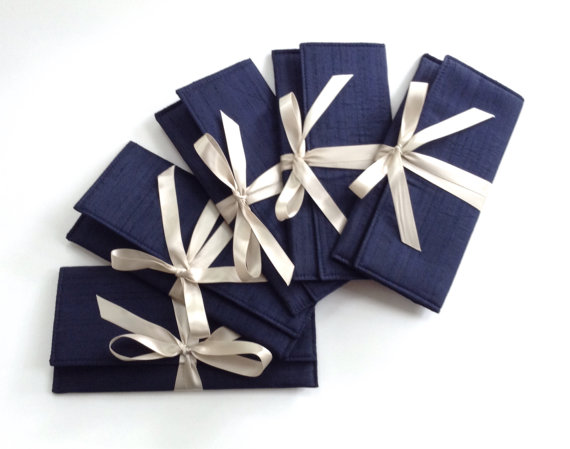 Wedding - Navy and champagne bridesmaid clutches // Slim formal envelope bag in navy blue silk with a latte satin bow // Wedding clutch bag // Gift
