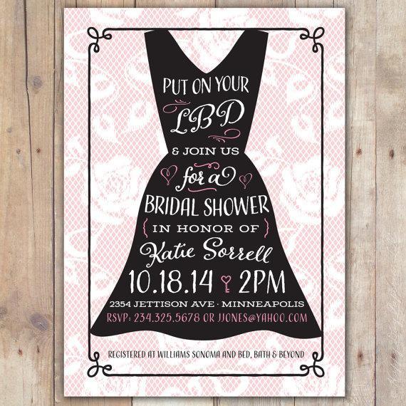 little black dress custom digital wedding shower invitation bridal shower bachelorette
