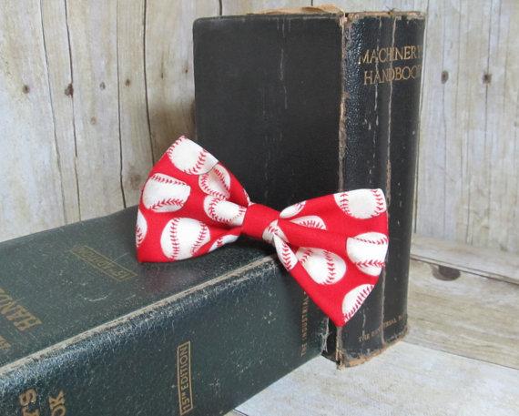 Свадьба - Red Baseball Bow Tie, Clip, Headband or Pet
