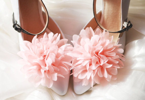 Coral wedding coral pink chiffon flowers shoe clips 2236073 coral pink chiffon flowers shoe clips mightylinksfo