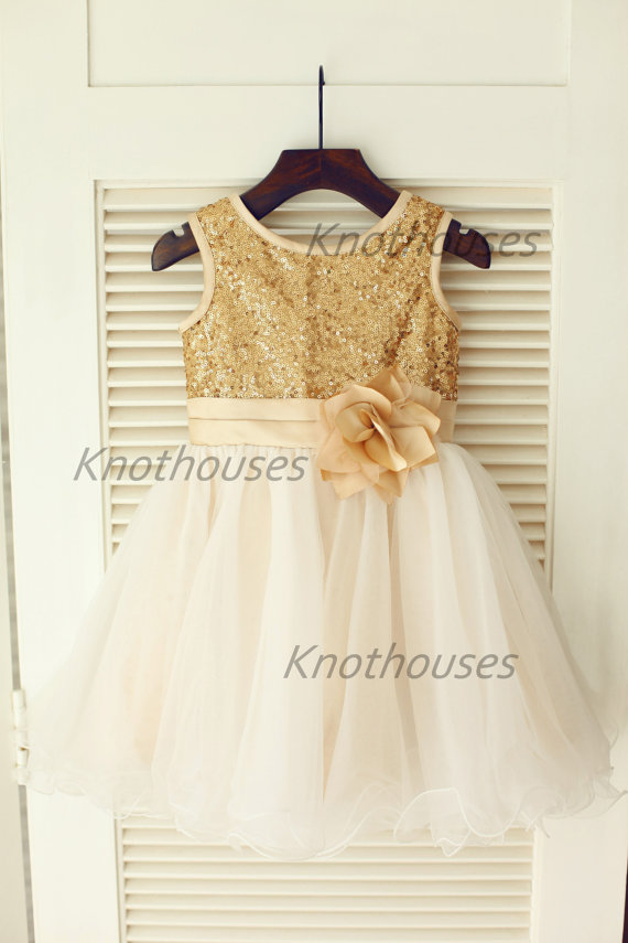 Gold Sequin IvoryTulle Flower Girl Dress Flower Belt Children ...