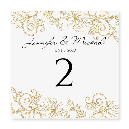 Instant Wedding Table Number Card Template Vintage Bouquet Gold Foldover Microsoft Word Format
