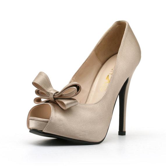 Hochzeit - Dark Champagne Satin Wedding Shoe with Bow. Champagne Wedding Shoe. Wedding Shoes.