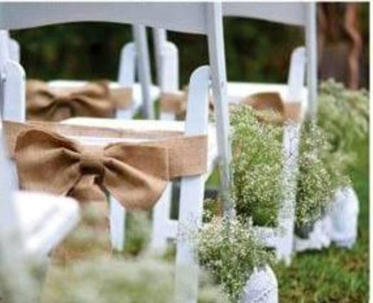 Mariage - Burlap chair sash - Rustic wedding