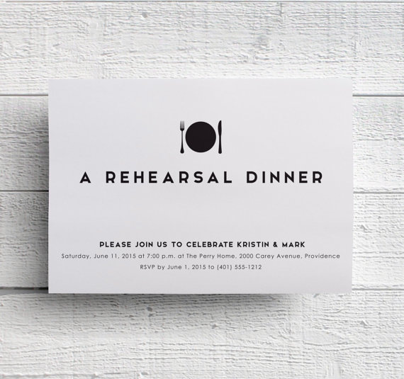Mariage - Print Your Own Rehearsal Dinner Invitation