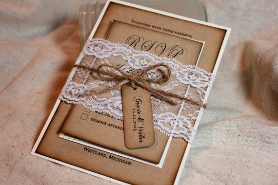 Rustic Wedding Invitation Set, Lace And Kraft Rustic Wedding Invite, Burlap  Lace Wedding, Rustic Invitations, Distressed, Wedding Invitation