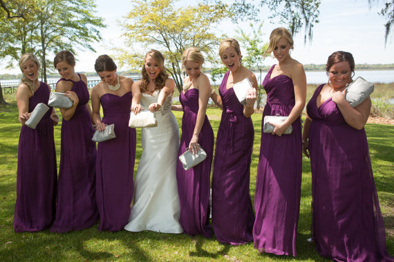 Mariage - Bridesmaid Gift Custom Silk Silver Wedding Bags Customize Your Lolis Creations Clutch Purse Personalized Bags