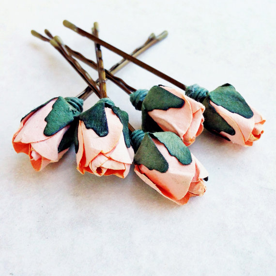 Mariage - Peach Pie Rose, Peach Hair Flower, Bridal Hair Accessories, Bohemian Wedding Hair Flower, Peach Flower Bobby Pins - Set of 5
