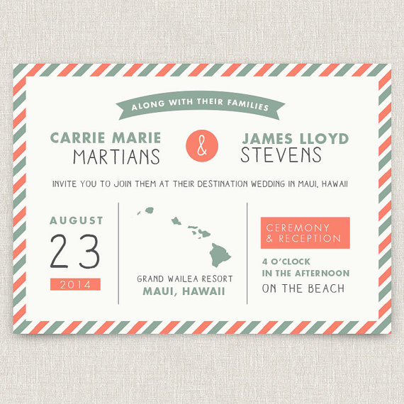 Wedding - Postage - Modern destination wedding invitation with map and airmail design