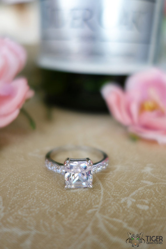 Mariage - 3.25 Carat Square Radiant Cut Engagement Ring, Diamond Simulant, Wedding, Promise Ring, Birthstone, Bridal, Sterling Silver, Size 7.5-9