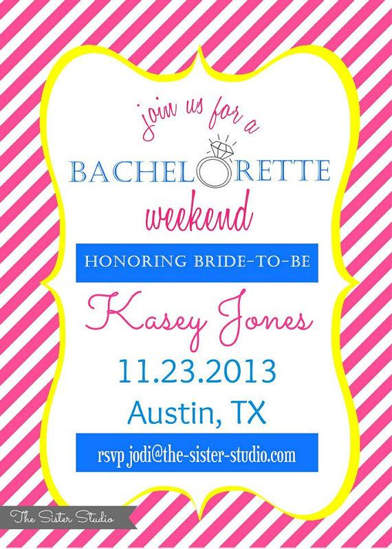 Hochzeit - Pink and Yellow Bachelorette Party Invitation - Blue - Stripes - Digital File