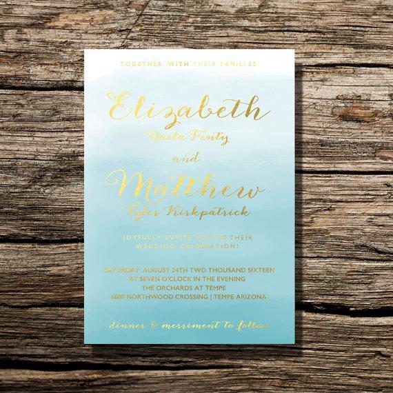 Printable Wedding Invitation Ocean Blue Watercolor Floral Invite