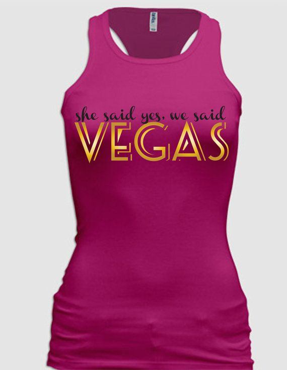 Wedding - Pink/White/Black Bachelorette Vegas Tanks