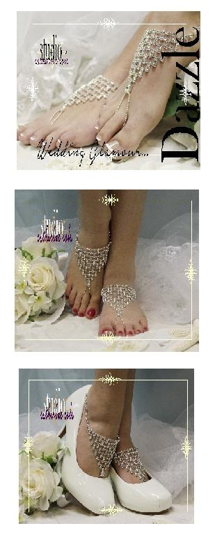 Wedding - Dazzling rhinestone barefoot sandals for wedding shoes