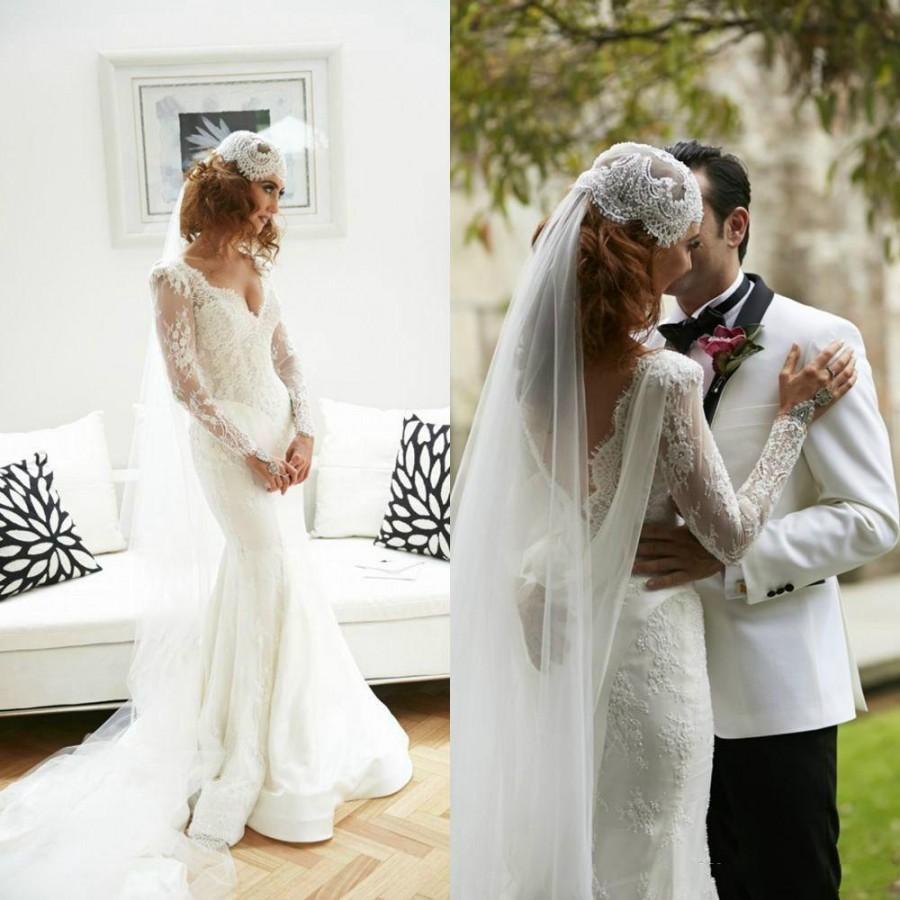 Wedding Dress Long Sleeve Backless : Spring lace wedding dresses white backless v neck long sleeve