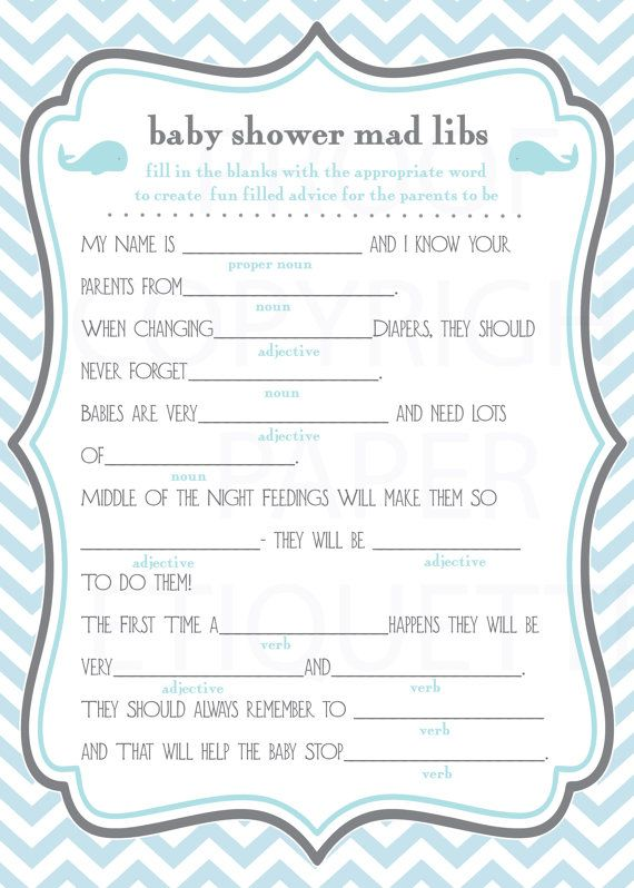 image about Baby Shower Mad Libs Printable known as Prompt Add Whale Boy or girl Shower Video game Nuts Libs - Blue And