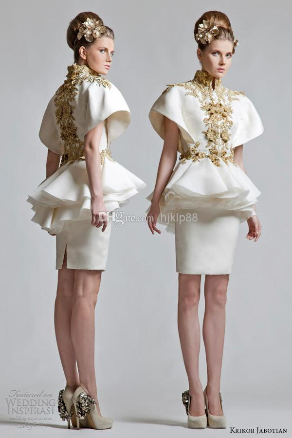 Wedding - Krikor Jabotian 2013 New Retro High Neck Short Sleeves Appliqued Chinese Wind Appliqued Mini Evening/Cocktail Dress Online with $90.08/Piece on Hjklp88's Store