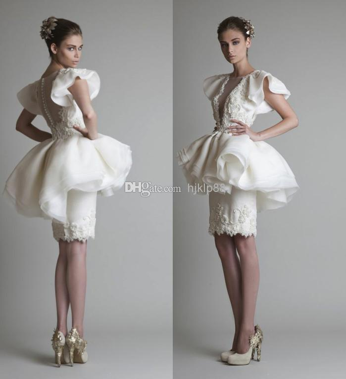 243ea2806d3fd High Quality Cocktail Dress See through Sheath/Column Crew Knee Length  Organza White Lace Applique Cocktail Dresses Online with $79.47/Piece on  Hjklp88's ...