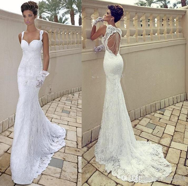 Vestido de noiva sexy spaghetti strap sweetheart ivory for Lace wedding dresses open back