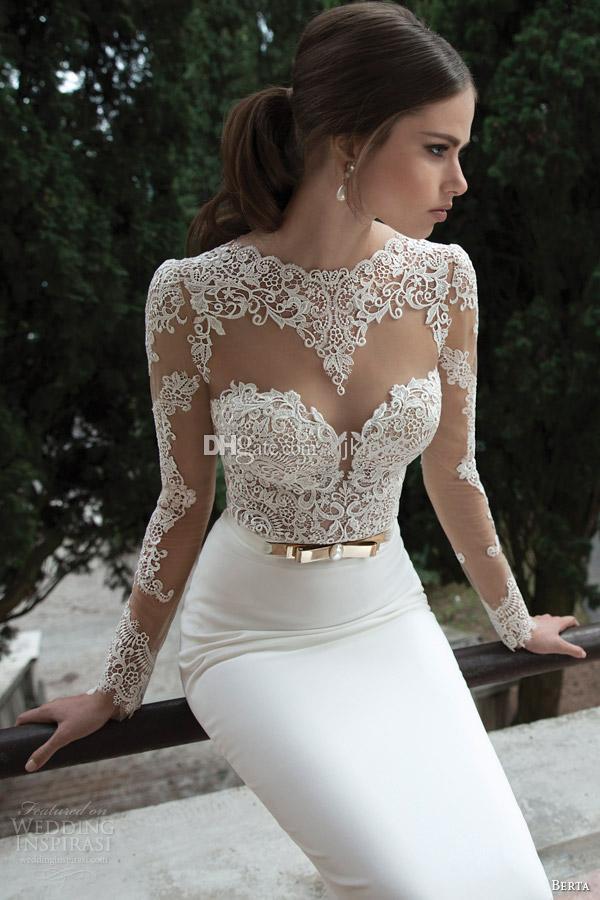 Berta Bridal Winter 2014 Long Sleeve Backless Wedding Dresses Open ...
