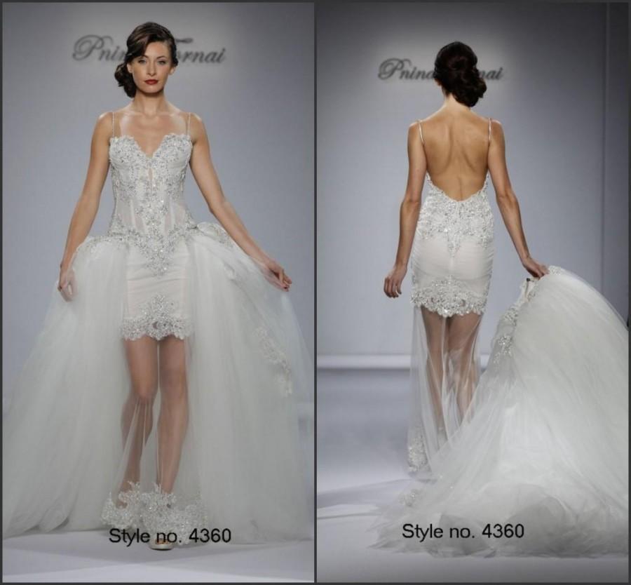 Свадьба - Romantic Mermaid Sexy Wedding Dresses Backless Beaded Detachable Skirt 2015 Pnina Tornai Tulle Spaghetti Sexy Bridal Dresses Wedding Gowns Online with $117.72/Piece on Hjklp88's Store