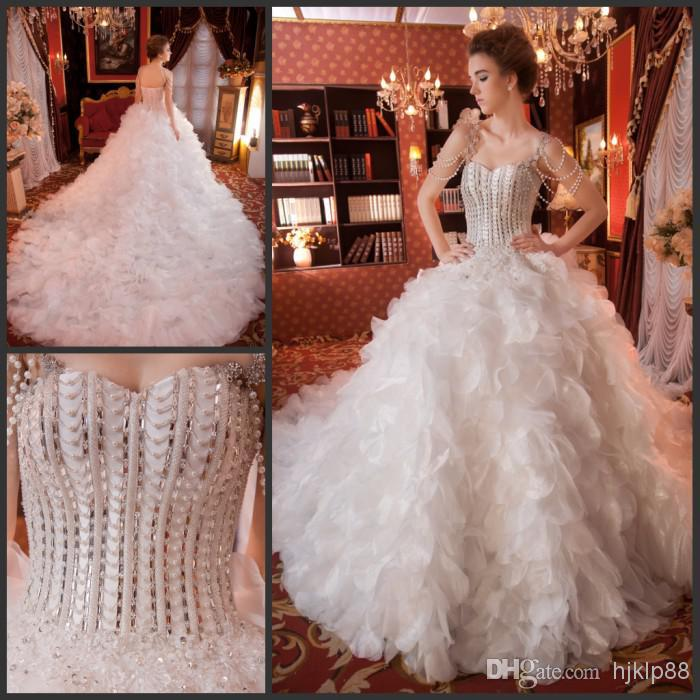 2014 Gorgeous Crystal Hot Sexy Ball Gowns Royal Wedding Dresses Sweetheart Strapless Bridal Luxury Gown Dress New Arrival Online With