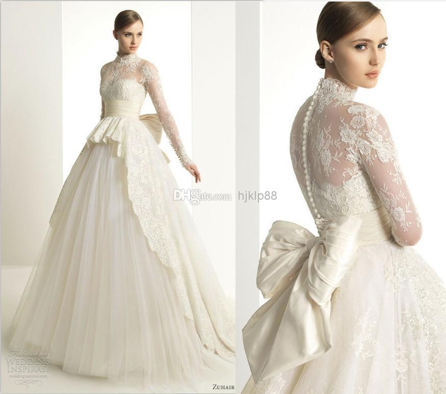 Zuhair Murad 2013 New Luxury Lace Long Sleeve Wedding Dress High Neck Ball Go