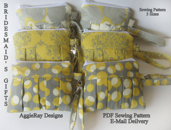 Mariage - INSTANT DOWNLOAD diy Wedding Bridesmaid PDF Sewing Pattern Wristlet Clutch Zipper Pouch:  Aggie Clutch Wristlet 3 Sizes
