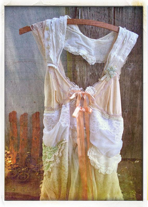 Wedding - sustainable bespoke wedding GOWN alternative bohemian natural bride dress DEPOSIT