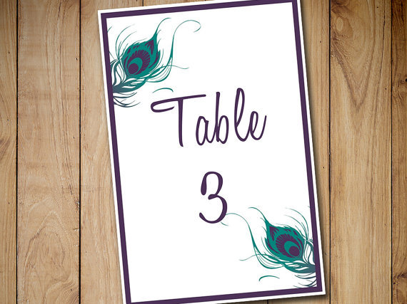 Wedding - Peacock Wedding Table Number Template Download - Peacock Feather Table Number Jade Lapis 4x6 Flat Table Card Download Wedding Seating
