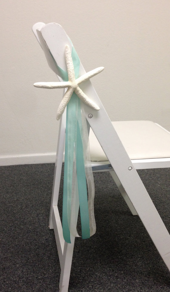 Beach Wedding Decor Starfish Chair Decoration With Satin And Sheer Ribbons