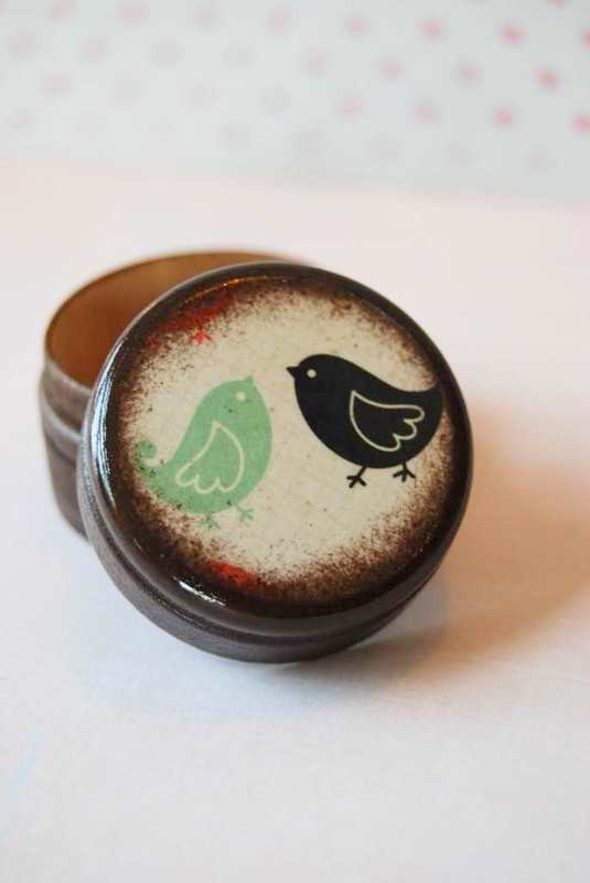 Mariage - Pill Box Black And Teal Love Birds Wedding Ring Box Valentine's Day Gift Small Pill Box