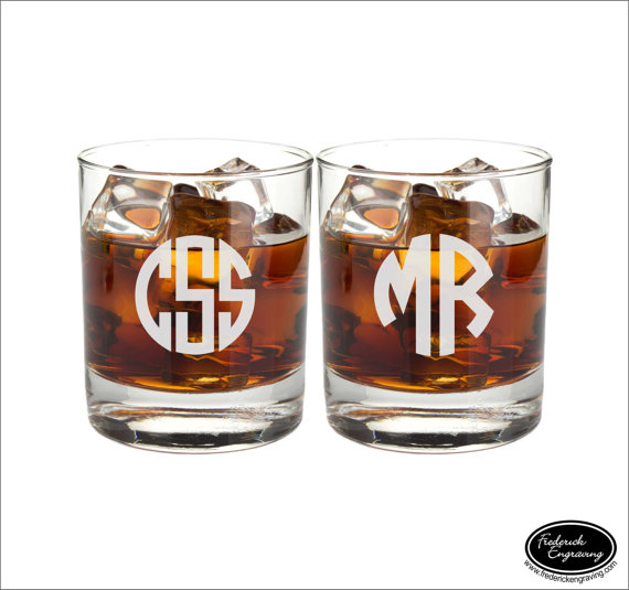 Wedding - TWO Custom Whiskey Scotch Bourbon Rocks Glasses, SHIPS FAST, Engraved Rocks Glasses, Personalized Whiskey Glasses, Groomsmen Glasses