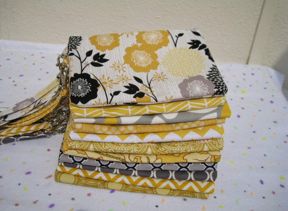 Wedding - 10 WEDDING CLUTCHES, wedding, gift pouch, 2 pockets, handmade, bridesmaids, bridal, wristlet, clutch