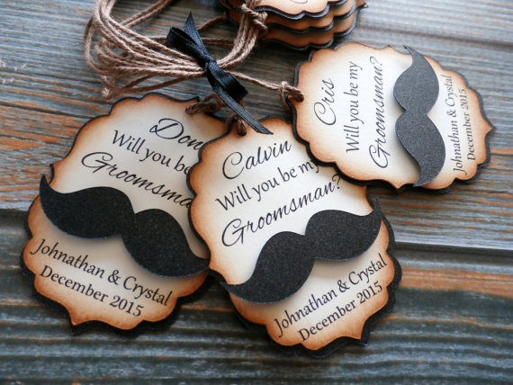 Свадьба - Personalized Groomsman Tag - Pearlescent Mustache - Will you be my Groomsman?
