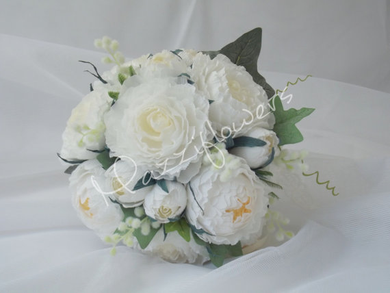 Mariage - Wedding bouquet,paper flower, peonies paper flower,bridal bouquet,paper bridal bouquet,flower paper,cream peonies, white peonies paper