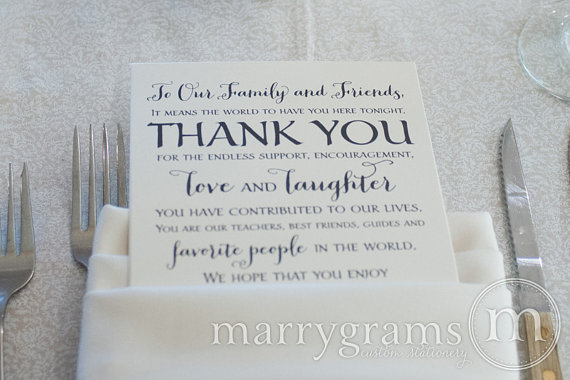 wedding reception thank you card to your guests to our friends and family reception seating thank you note card set of 50 ss02