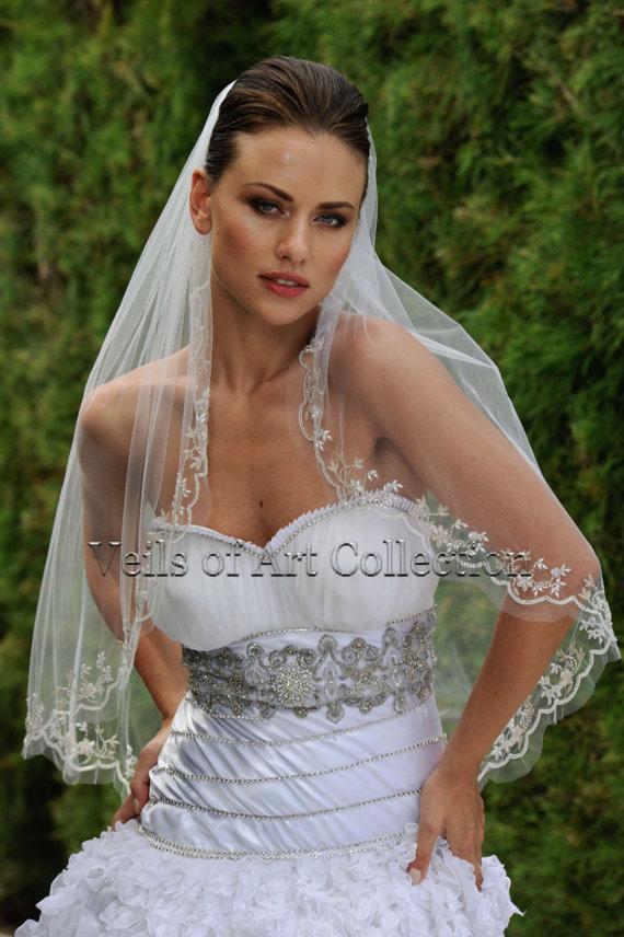 Mariage - Designer One Tier Beaded Bridal Veil Fingertip Style VE307 by Veils of Art