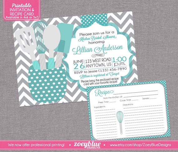 stock the kitchen bridal shower invitation with recipe card printable tiffany blue grey chevron teal gray printable digital file